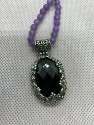 Bali Legacy Thai Black Spinel Pendant With Purple Jade Necklace Combo