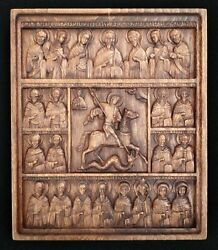 Carved Icon Of Beech St. George And The Dragon With Deesis And Selected Saints