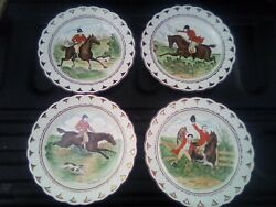 4 Wedgwood Plates With Hand Colored Full Cry Kill Ect Fox Hunt Scene Luster