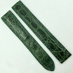 Authentic 15mm Green Leather Strap For Deployant Clasp