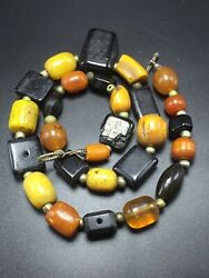 Antique Unusual Natural Butterscotch Amber And Black Tribal Beaded Necklace