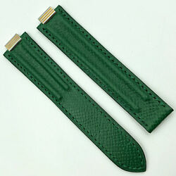 Authentic 18mm Green Lizard Leather Strap For Deployant Clasp