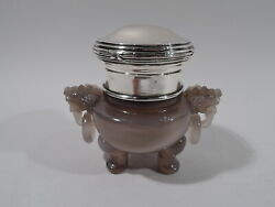 Antique Koro - Foo Dog Box - Chinese Hardstone And German 800 Silver - Qing