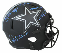 Cowboys Irvin, Pearson And Lamb Signed Eclipse F/s Speed Rep Helmet Bas Blue Sig