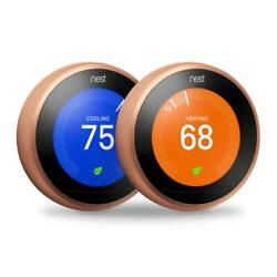 Google Nest Learning Smart Wi-fi Thermostat 3rd Generation Copper Finish 2 Pack