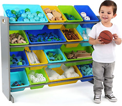 Toy Bins Organizer Shelf Kids 16 Storage Toddler Box Kid Room Wooden Shelves NEW