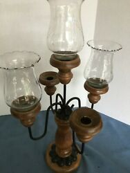 Antique Hurricane Lamp Wooden Base Five Globes Etched Glass 2 Missing