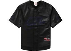 Nike X Supreme Leather Baseball Jersey Black Sz Large New With Tags In Hand