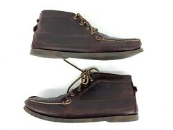 Sperry Top-sider Chukka Boots Moc Toe Boat Shoes Burgundy Leather Mens 11.5