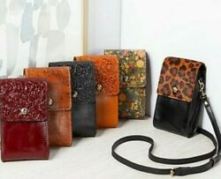 Patricia Nash $99 Brown Black Red Flowers Crossbody Bag Leather phone purse NWT $39.99