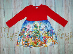 NEW Boutique Disney Christmas Tree Girls Red Long Sleeve Dress
