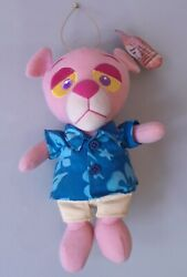 Vintage Pink Panther Blue Shirt W Tag Plush Stuffed Animal Cat Doll Soft Toy