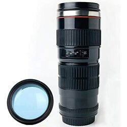 Tmango Camera Lens Coffee Mug With Translucent Lid Stainless Steel 15-ounce