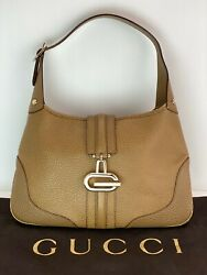 Gucci Tan Leather Shoulder Small Hand Bag Vintage B149 AUTHENTIC $289.00