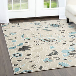 Contemporary Beige 5x7 Vines Leaves Petals Area Rug Actual Size 5and039 2 X 7and039 2