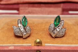 Vintage 18k Gold Natural Diamond And Emerald Flowers Style Earring