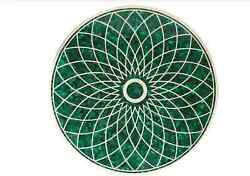 3and039 Green Malachite Round Marble Table Top Coffee Center Corner Inlay Home Decor