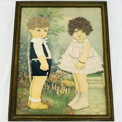 Antique Victorian Embellished Die Cut Dolls Framed On Print With Hair And Clothes
