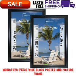 24x36 Wide Black Poster amp; Picture Frame 2 Pack Hangs Vertically Or Horizontally