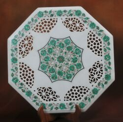 30'' Marble Dining Coffee Corner Center Jali Table Top Inlay Green Malachite