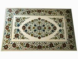 3and039x2and039 Marble Table Top Coffee Semi Precious Stones Floral Inlay Home Antique