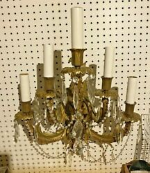 Antique Victorian Gilt Cast Metal 5 Light Candelabra Wall Sconce With Prisms