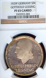 Germany Weimar Republic 1929 F 5 Mark Lessing Thaler Ngc Pf 65 Cameo Pp