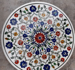 42'' White Marble Table Top Dining Coffee Mosaic Lapis Inlay Home Decor Round