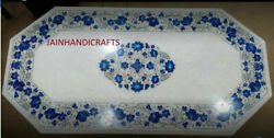 5and039x2.5and039 White Marble Table Top Dining Coffee Center Inlay Lapis Decor G900