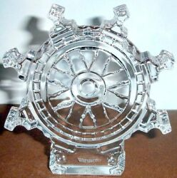 Waterford Crystal Ship's Wheel Paperweight Nautical Sculpture 5 New In Box
