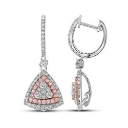 14k White Gold Round Pink Diamond Triangle Dangle Earrings 1-1/2 Cttw