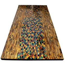 4and039x2and039 Tiger Eye Marble Table Top Dining Coffee Inlay Semiprecous Room Decor D101
