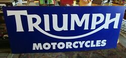 Lgand039and039 Vintage Triumph Motorcycle Metal Dealer Sign. 96and039and039 X 40and039and039 X 1and039and039