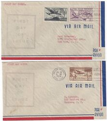 Us Canal Zone 1939 Air Mail Two Fdcs Jul 15 39 Sc C15 C16 C17