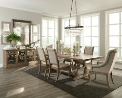Weathered Formal Barley Brown 104 Dining Table 6 Cream Chairs Furniture Set