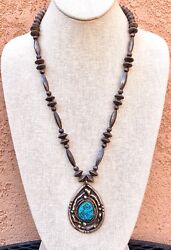 Vintage Native American Sterling Silver Navajo Pearl Turquoise Beaded Necklace