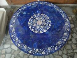 36and039and039 Blue Lapis Marble Table Top Coffee Center Fancy Inlay Mosaic Home