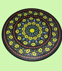 42 Black Marble Table Top Center Dining Inlay Lapis Mosaic Home Decor G786