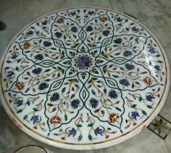 42and039and039 White Marble Coffee Table Top Inlay Handicraft Work For Home Furniture