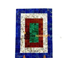 30and039and039x18and039and039 Marble Coffee Center Table Top Malachite Random Inlay Blue Lapis