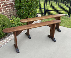 Antique French Country Benches Pair Pegged Trestle Banquette Window Seats 19th C