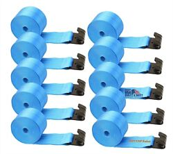 10 Boxer 4x30and039 Winch Straps W/flat Hook Flatbed Truck Tie Down 5400lb Us Made