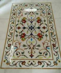 4and039x2and039 White Dining Coffee Marble Table Top Inlay Lapis Malachite Room C235