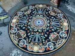 4and039 Black Marble Center Dining Table Top Inlay Mosaic Malachite Coffee Side Item