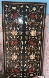 5and039x2.5and039 Black Marble Table Top Dining Coffee Center Inlay Malachite Decor A110