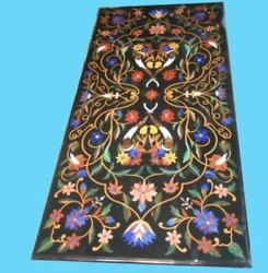5'x2.5' Black Marble Table Top Dining Coffee Center Inlay Malachite Decor A108
