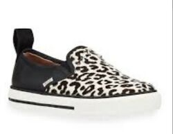 New Red Valentino Star Studded Leopard Print Calf Hair Slip On Sneakers 7 B
