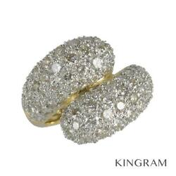 18k Yellow Gold 750 Diamond 3.52ct Cleaned Ring From Japan