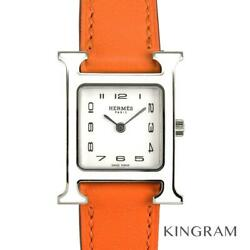 Hermes Hh1.220 H Watch White Lacquer Bezel Women's Watch From Japan
