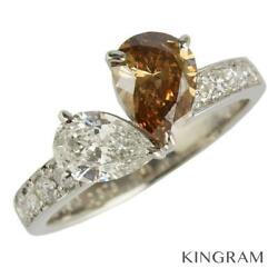 Pt900 Brown Diamond 1.013ct 0.576ct 0.29ct Cleaned Ring From Japan
